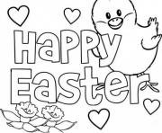 happy easter message coloring pages
