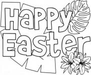 Printable happy easter simple message coloring pages