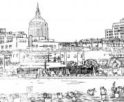 Printable city adult drawing new york coloring pages