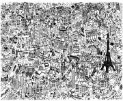 Printable city fresco paris coloring pages