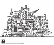 Printable twisted city coloring pages