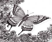Printable butterflies floers for adults free coloring pages