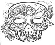Printable sugar skull adult flower coloring pages