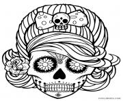 Printable Girl Skull cute adult coloring pages