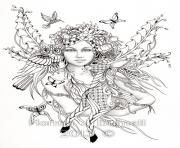 Printable difficult fairies with bird nature flowers coloring pages