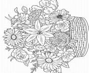 Printable flowers adults difficults coloring pages