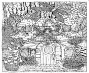difficult fairies house coloring pages