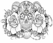 Printable very difficult sugar skull for adults coloring pages