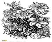 Printable four free flower coloring pages