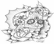 Printable awesome sugar skull picture online coloring pages