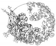 Printable difficult flower fairie coloring pages