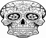 Printable intricating sugar skull printable for adults coloring pages