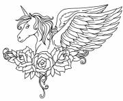 Printable ornate winged unicorn flowers coloring pages