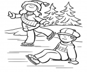 Print free winter s ice skating kidsa135 coloring pages