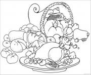 Print coloring pages for kids thanksgiving meal and cornucopia2144 coloring pages