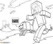 Print minecraft coloring kids with dog coloring pages