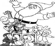 Print santa and lots of dolls christmas s for kidse897 coloring pages
