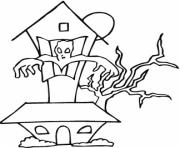 Print haunted house halloween free color pages for kidsfbd2 coloring pages