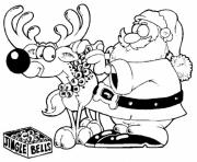 Print deer and santa christmas s for kids302a coloring pages