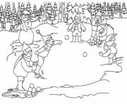 Print snowfight winter s for kidse448 coloring pages