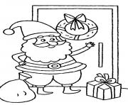 Print santa claus knocking the door christmas s for kids9d94 coloring pages