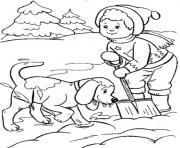 Print boy and dog playing snow winter s for kids477d coloring pages