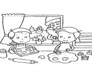 Print kids making cookies for santa claus 14af coloring pages