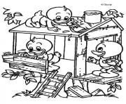 Printable kids making birds house disney 86b0 coloring pages