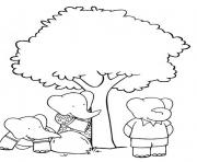 Print babar free cartoon s kids playing hide and seek13f0 coloring pages