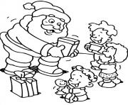 Print christmas s for kids santa giving some gifts to kids74f2 coloring pages