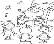 Print santa listening kids singing christmas printable s2057 coloring pages