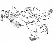 Print winnie and piglet playing ice skating winter s for kidsad9b coloring pages