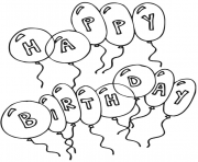 Print kids happy birthday balloons s3225 coloring pages