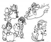 Print playing snow winter s for kids8410 coloring pages