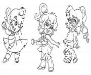 Alvin and the chipmunks cartoon coloring pages printable for Chipettes coloring pages to print
