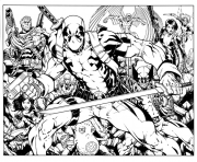 Print deadpool with friends coloring pages