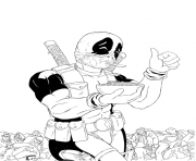 deadpool eats cereales coloring pages