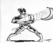 deadpool with gun coloring pages