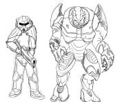 Print brotherhood of steel and elites from halo by zonalar coloring pages