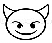 Printable how to draw devil emoji step coloring pages