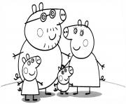 Printable family of peppa pig coloring pages