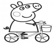 Print peppa pig drive bike coloring pages
