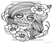 sexy woman sugar skull flowers coloring pages