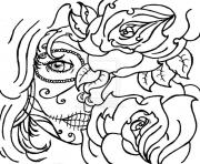 Printable sugar skull woamn flowers cool coloring pages
