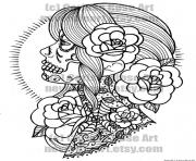 Print woman sugar skull flowers coloring pages