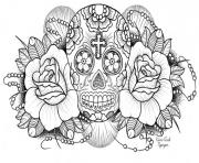 sugar skull with roses coloring pages printable - Coloring Pages Roses Skulls