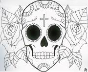 Printable very simple sugar skull flowers coloring pages