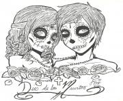 skull sugar couples love coloring pages