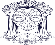 Print sugar skull woman flowers old coloring pages