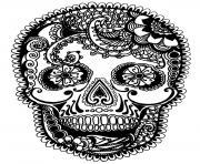 simple sugar skull coloring pages printable - Simple Sugar Skull Coloring Pages